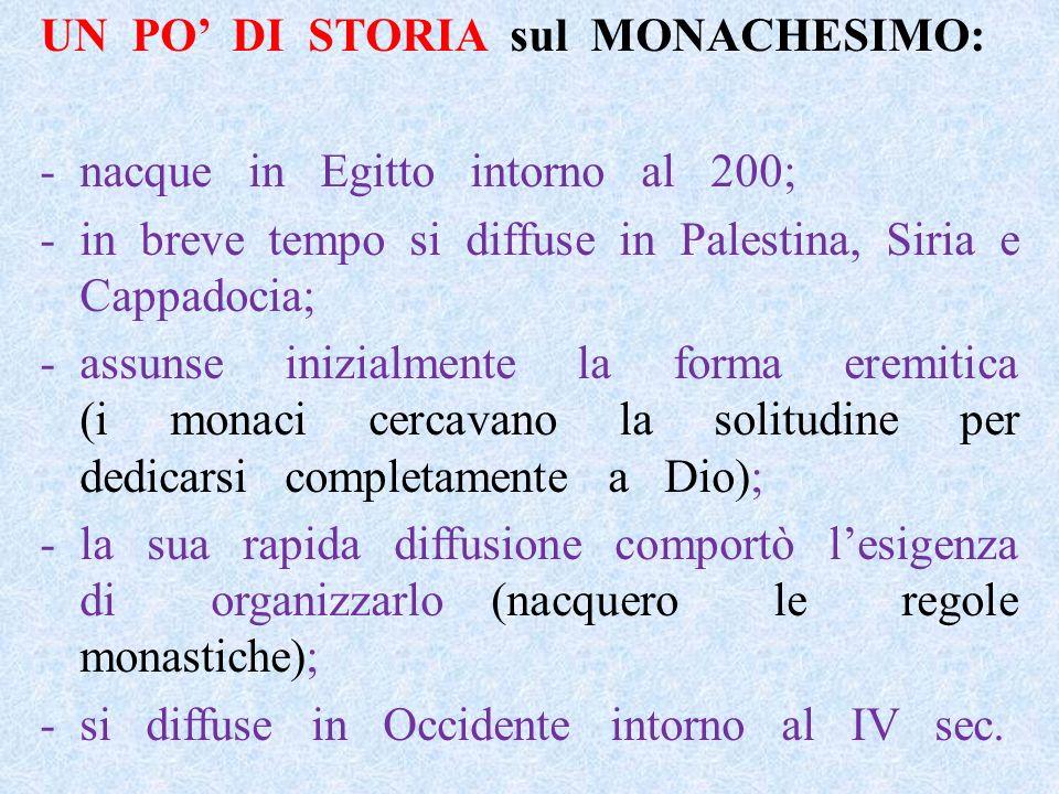 UN PO DI STORIA sul MONACHESIMO: -nacque in Egitto intorno al 200; -in breve tempo si diffuse in Palestina, Siria e Cappadocia; -assunse inizialmente