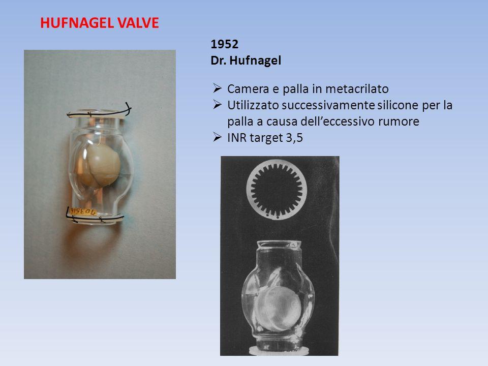 Camera e palla in metacrilato Utilizzato successivamente silicone per la palla a causa delleccessivo rumore INR target 3,5 HUFNAGEL VALVE 1952 Dr. Huf