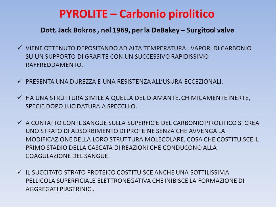PYROLITE – Carbonio pirolitico Dott. Jack Bokros, nel 1969, per la DeBakey – Surgitool valve VIENE OTTENUTO DEPOSITANDO AD ALTA TEMPERATURA I VAPORI D