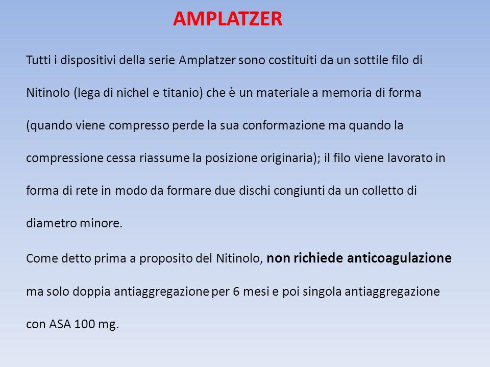 Tutti i dispositivi della serie Amplatzer sono costituiti da un sottile filo di Nitinolo (lega di nichel e titanio) che è un materiale a memoria di fo