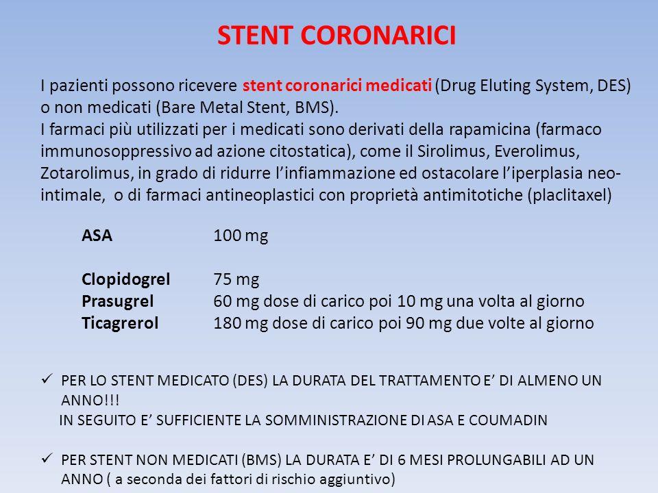 STENT CORONARICI I pazienti possono ricevere stent coronarici medicati (Drug Eluting System, DES) o non medicati (Bare Metal Stent, BMS). I farmaci pi