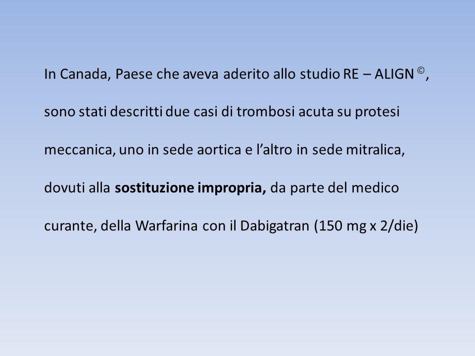 In Canada, Paese che aveva aderito allo studio RE – ALIGN ©, sono stati descritti due casi di trombosi acuta su protesi meccanica, uno in sede aortica