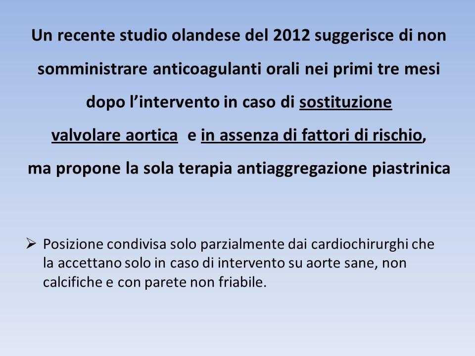 Un recente studio olandese del 2012 suggerisce di non somministrare anticoagulanti orali nei primi tre mesi dopo lintervento in caso di sostituzione v