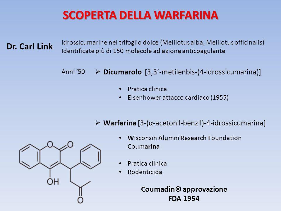 Coumadin© approvazione FDA 1954 Dr. Carl Link Idrossicumarine nel trifoglio dolce (Melilotus alba, Melilotus officinalis) Identificate più di 150 mole