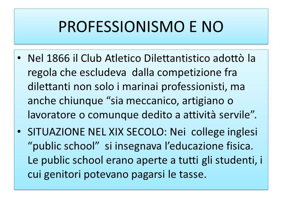 PROFESSIONISMO E NO Nel 1866 il Club Atletico Dilettantistico adottò la regola che escludeva dalla competizione fra dilettanti non solo i marinai prof