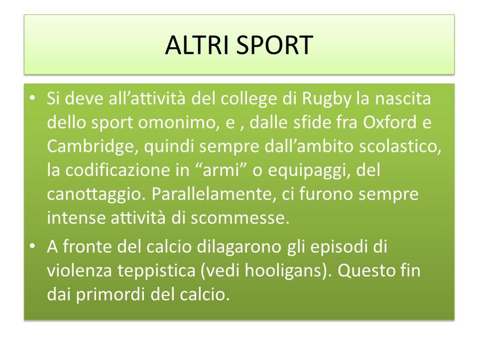 ALTRI SPORT Si deve allattività del college di Rugby la nascita dello sport omonimo, e, dalle sfide fra Oxford e Cambridge, quindi sempre dallambito s