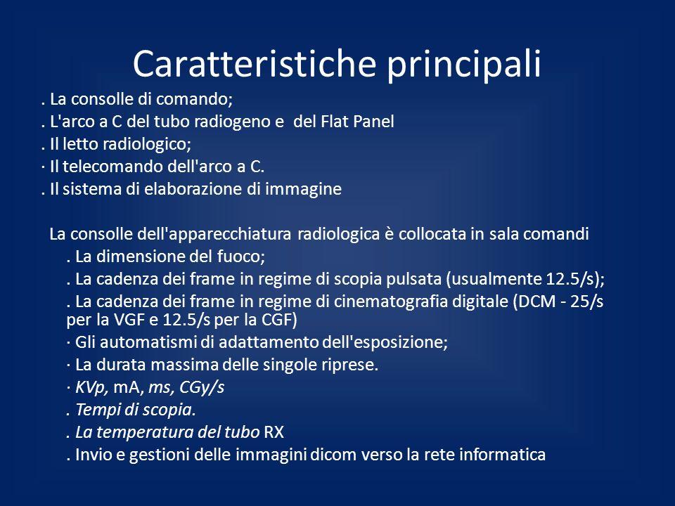 Caratteristiche principali. La consolle di comando;. L'arco a C del tubo radiogeno e del Flat Panel. Il letto radiologico; · Il telecomando dell'arco