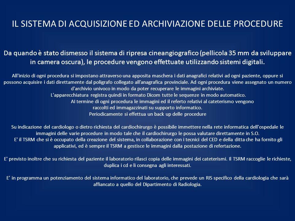 IL SISTEMA DI ACQUISIZIONE ED ARCHIVIAZIONE DELLE PROCEDURE Da quando è stato dismesso il sistema di ripresa cineangiografico (pellicola 35 mm da svil