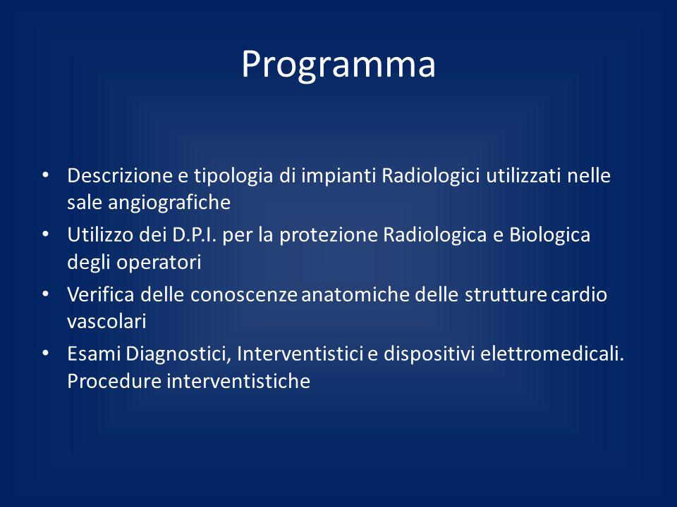 Programma Descrizione e tipologia di impianti Radiologici utilizzati nelle sale angiografiche Utilizzo dei D.P.I. per la protezione Radiologica e Biol