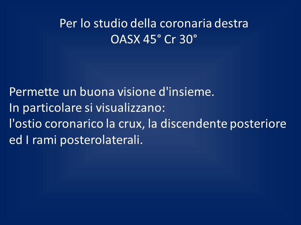 Per lo studio della coronaria destra OASX 45° Cr 30° Permette un buona visione d'insieme. In particolare si visualizzano: l'ostio coronarico la crux,