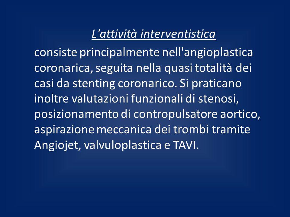 L'attività interventistica consiste principalmente nell'angioplastica coronarica, seguita nella quasi totalità dei casi da stenting coronarico. Si pra