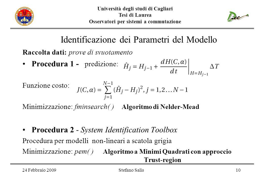 24 Febbraio 2009Stefano Salis10 Università degli studi di Cagliari Tesi di Laurea Osservatori per sistemi a commutazione Identificazione dei Parametri