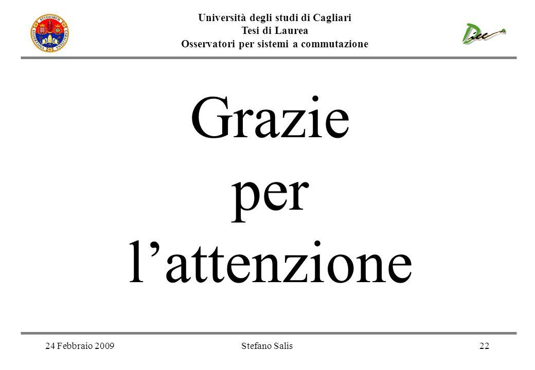 Università degli studi di Cagliari Tesi di Laurea Osservatori per sistemi a commutazione 24 Febbraio 2009Stefano Salis22 Grazie per lattenzione