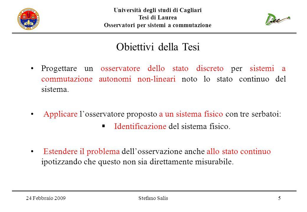 Università degli studi di Cagliari Tesi di Laurea Osservatori per sistemi a commutazione 24 Febbraio 2009Stefano Salis5 Obiettivi della Tesi Progettar