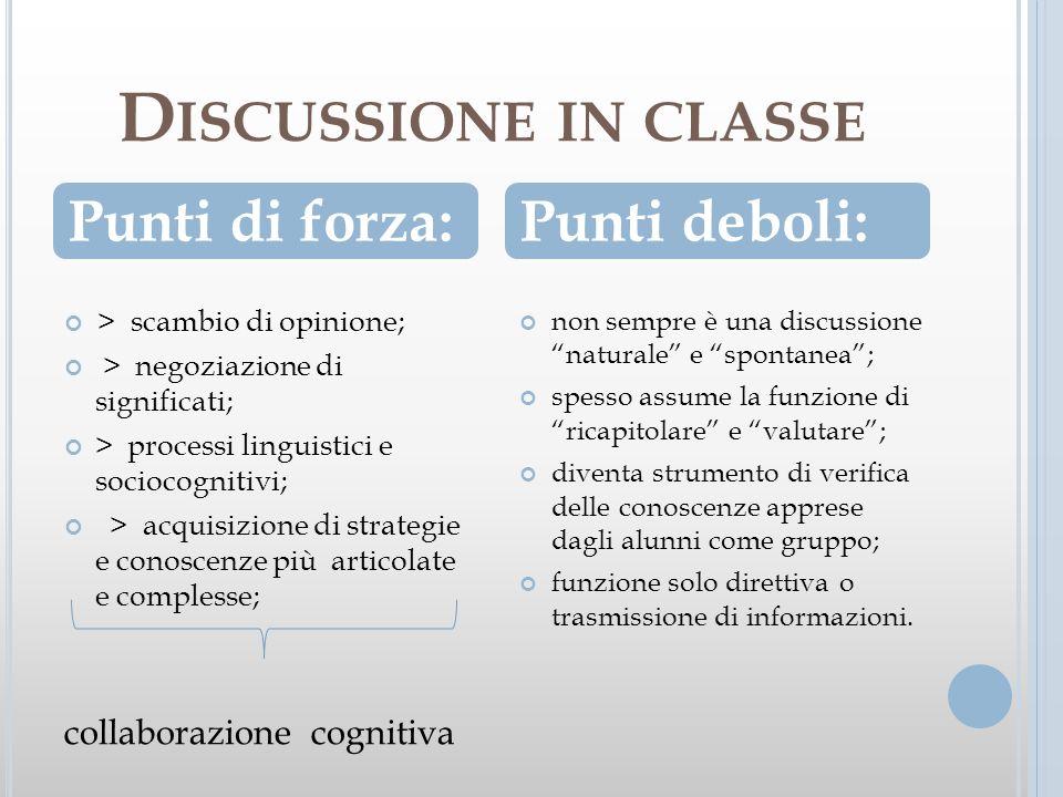D ISCUSSIONE IN CLASSE > scambio di opinione; > negoziazione di significati; > processi linguistici e sociocognitivi; > acquisizione di strategie e co