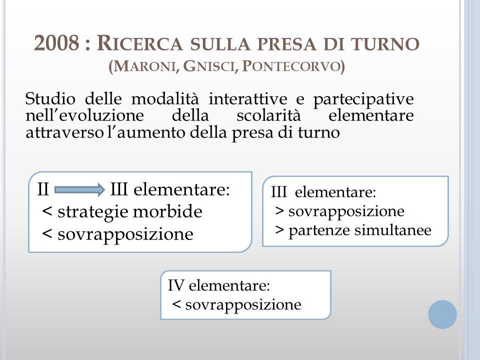 2008 : R ICERCA SULLA PRESA DI TURNO (M ARONI, G NISCI, P ONTECORVO ) Studio delle modalità interattive e partecipative nellevoluzione della scolarità