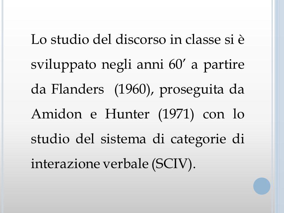 Lo studio del discorso in classe si è sviluppato negli anni 60 a partire da Flanders (1960), proseguita da Amidon e Hunter (1971) con lo studio del si