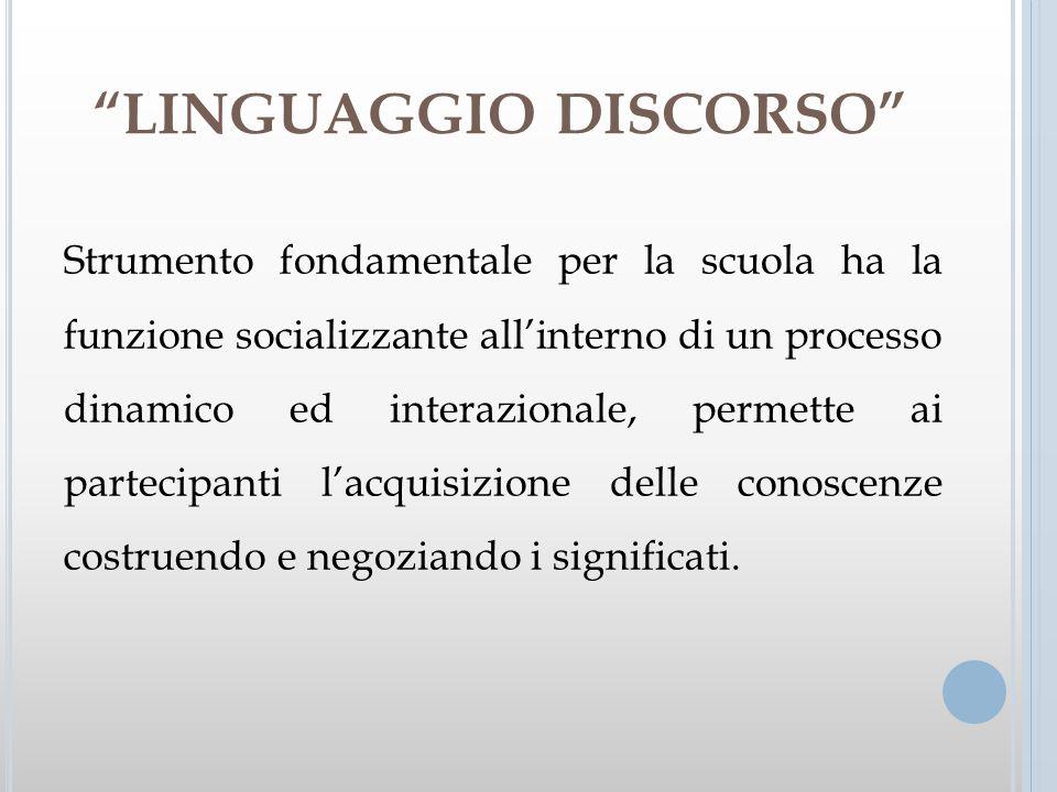LINGUAGGIO DISCORSO Strumento fondamentale per la scuola ha la funzione socializzante allinterno di un processo dinamico ed interazionale, permette ai