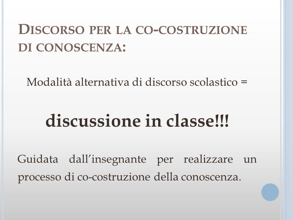 D ISCORSO PER LA CO - COSTRUZIONE DI CONOSCENZA : Modalità alternativa di discorso scolastico = discussione in classe!!! Guidata dallinsegnante per re