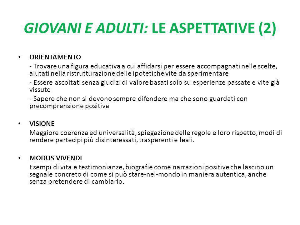 GIOVANI E ADULTI: LE ASPETTATIVE (2) ORIENTAMENTO - Trovare una figura educativa a cui affidarsi per essere accompagnati nelle scelte, aiutati nella r