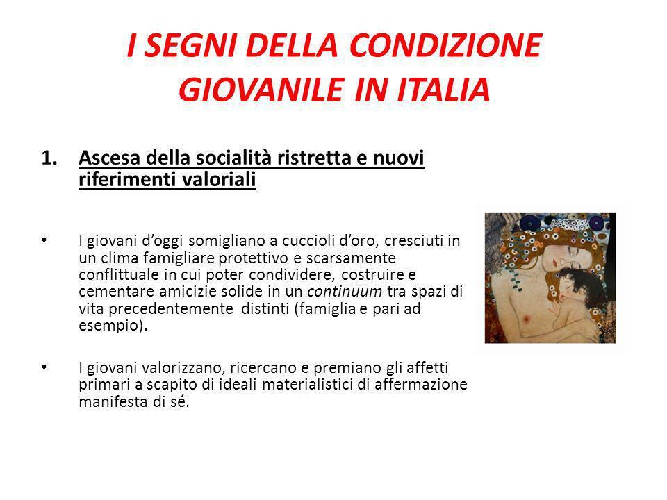 I SEGNI DELLA CONDIZIONE GIOVANILE IN ITALIA 1.Ascesa della socialità ristretta e nuovi riferimenti valoriali I giovani doggi somigliano a cuccioli do