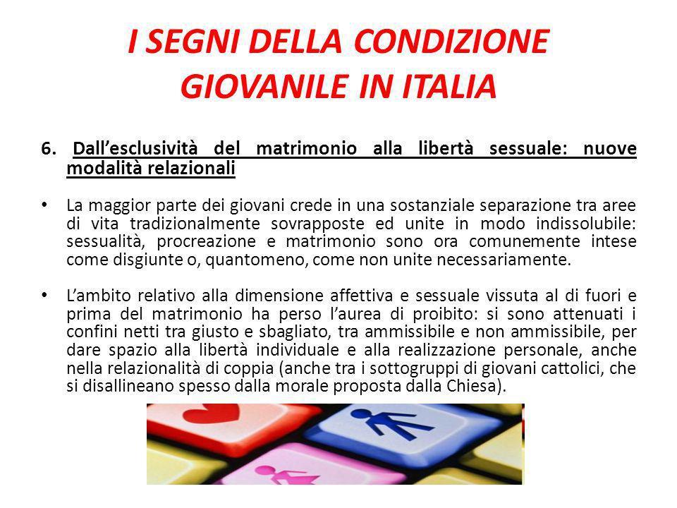 I SEGNI DELLA CONDIZIONE GIOVANILE IN ITALIA 6. Dallesclusività del matrimonio alla libertà sessuale: nuove modalità relazionali La maggior parte dei