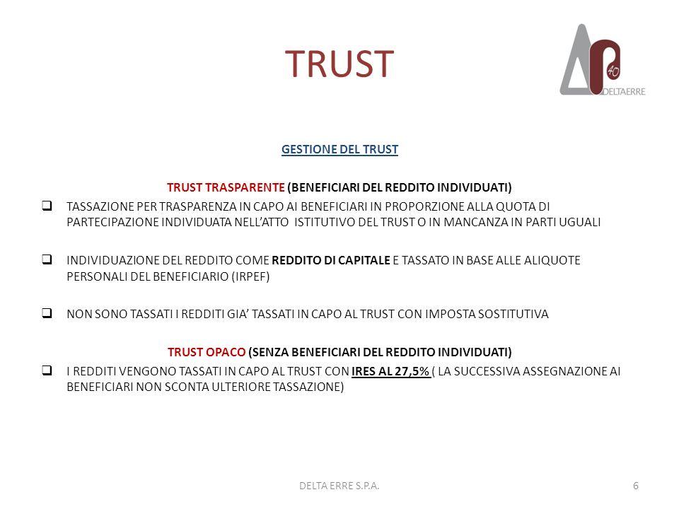 TRUST GESTIONE DEL TRUST TRUST TRASPARENTE (BENEFICIARI DEL REDDITO INDIVIDUATI) TASSAZIONE PER TRASPARENZA IN CAPO AI BENEFICIARI IN PROPORZIONE ALLA