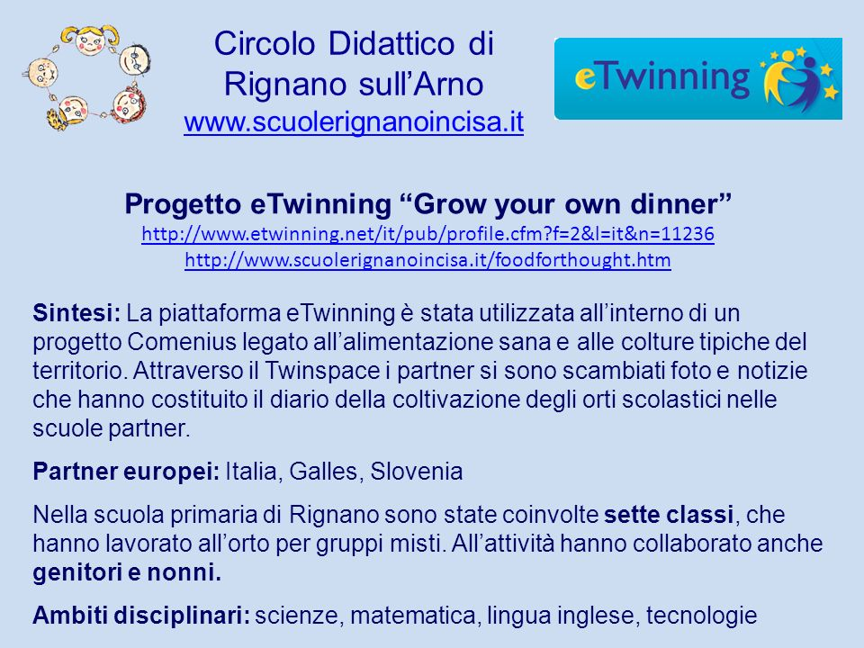 Progetto eTwinning Grow your own dinner http://www.etwinning.net/it/pub/profile.cfm?f=2&l=it&n=11236 http://www.etwinning.net/it/pub/profile.cfm?f=2&l