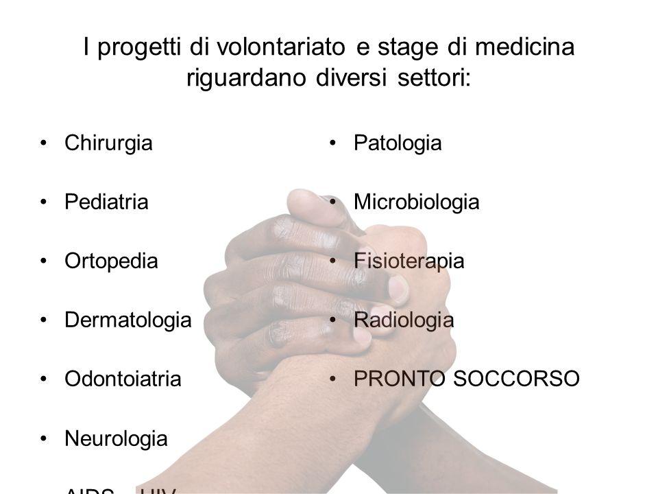 I progetti di volontariato e stage di medicina riguardano diversi settori: Chirurgia Pediatria Ortopedia Dermatologia Odontoiatria Neurologia AIDS – HIV Patologia Microbiologia Fisioterapia Radiologia PRONTO SOCCORSO