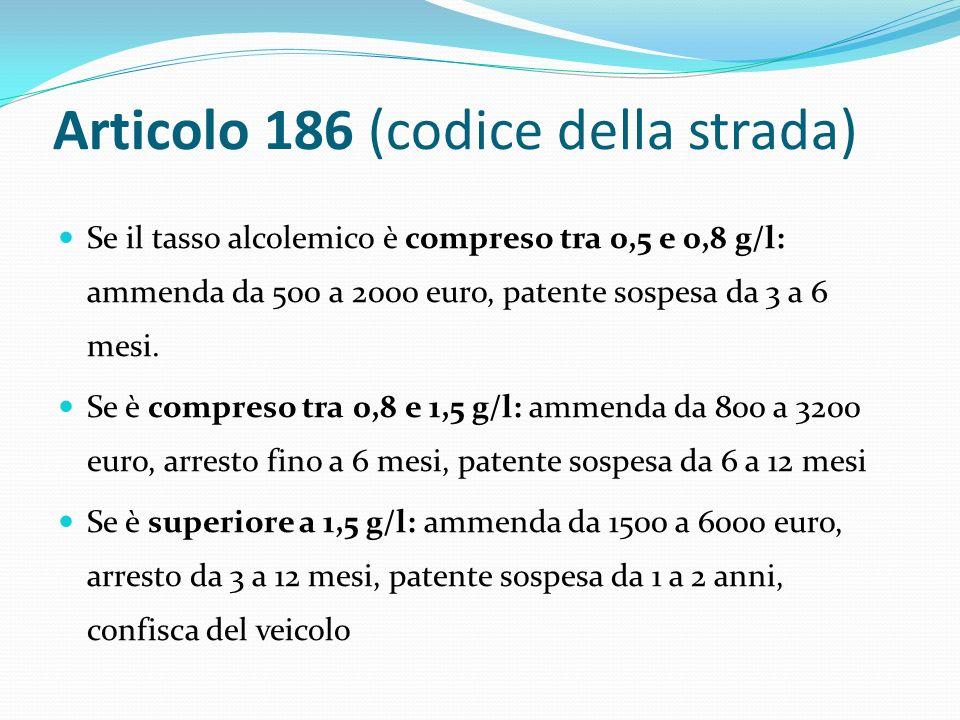 Articolo 186 (codice della strada) Se il tasso alcolemico è compreso tra 0,5 e 0,8 g/l: ammenda da 500 a 2000 euro, patente sospesa da 3 a 6 mesi.