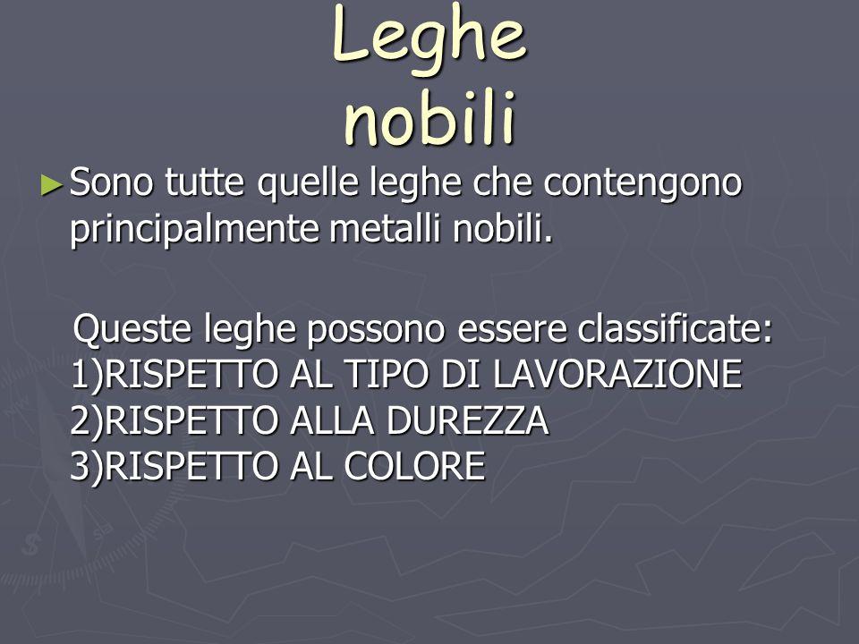 Leghe nobili Sono tutte quelle leghe che contengono principalmente metalli nobili. Sono tutte quelle leghe che contengono principalmente metalli nobil