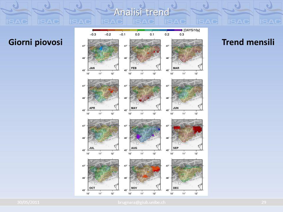 30/05/201129brugnara@giub.unibe.ch Analisi trend Giorni piovosiTrend mensili