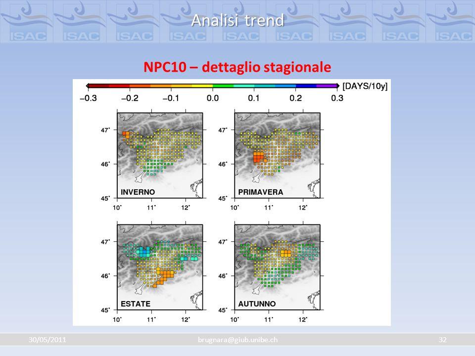 30/05/201132brugnara@giub.unibe.ch Analisi trend NPC10 – dettaglio stagionale