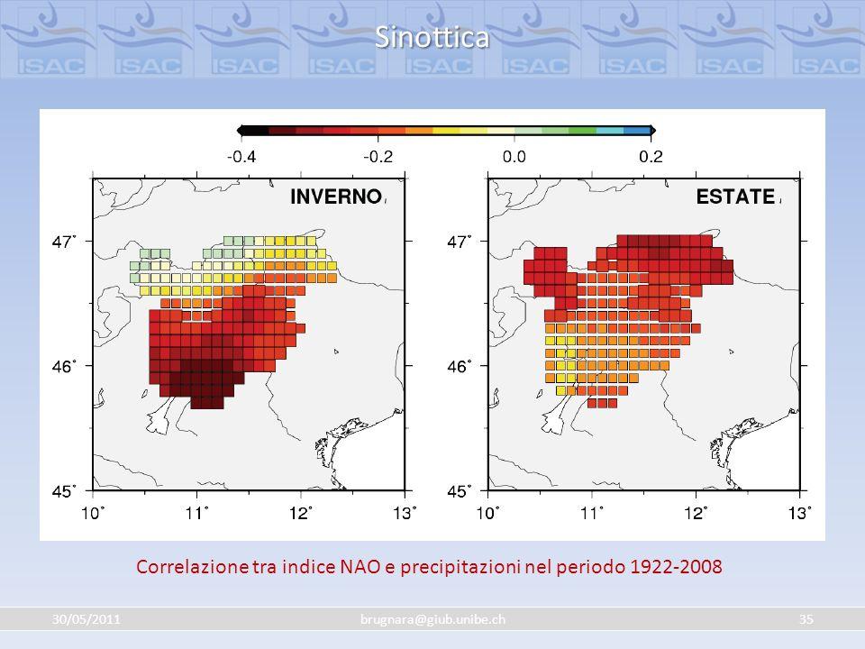30/05/201135brugnara@giub.unibe.ch Sinottica Correlazione tra indice NAO e precipitazioni nel periodo 1922-2008