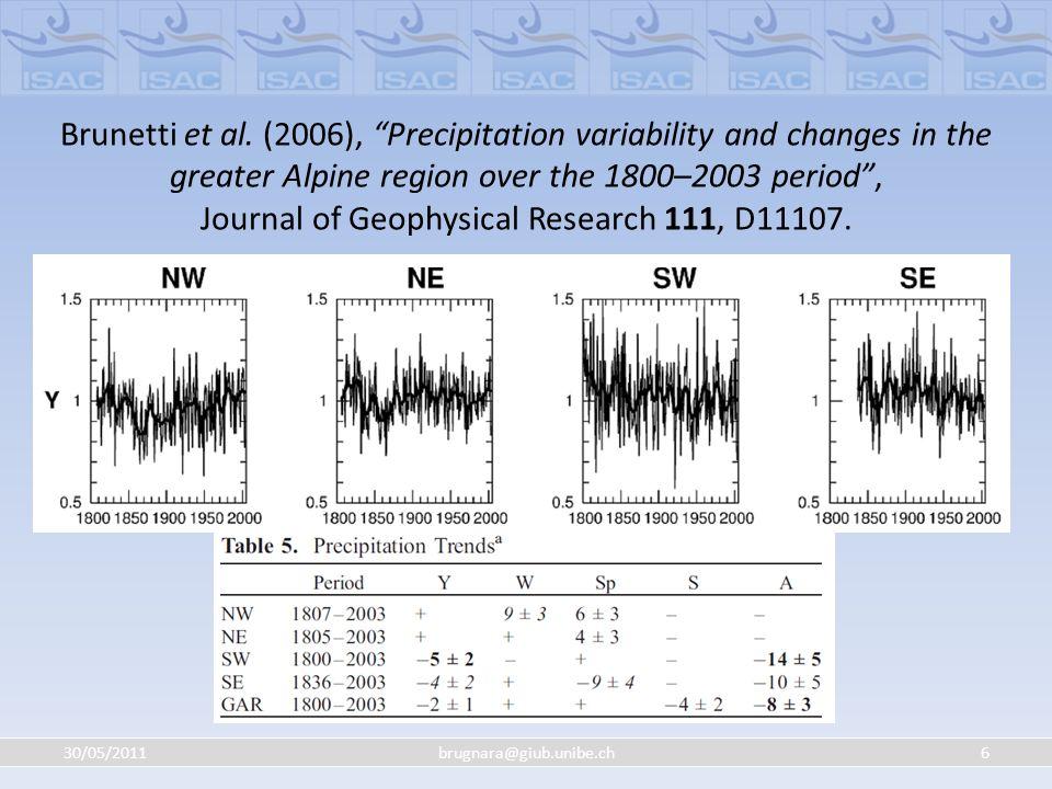 30/05/201117brugnara@giub.unibe.ch Omogeneizzazione ESEMPIO: Prima dellomogeneizzazione Precipitazioni annuali (serie blu da omogeneizzare) Test di Craddock (10 serie di riferimento) 1963