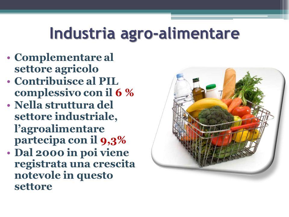 Industria agro-alimentare Complementare al settore agricolo Contribuisce al PIL complessivo con il 6 % Nella struttura del settore industriale, lagroa