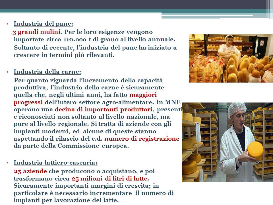 Industria del pane: 3 grandi mulini. Per le loro esigenze vengono importate circa 110.ooo t di grano al livello annuale. Soltanto di recente, lindustr