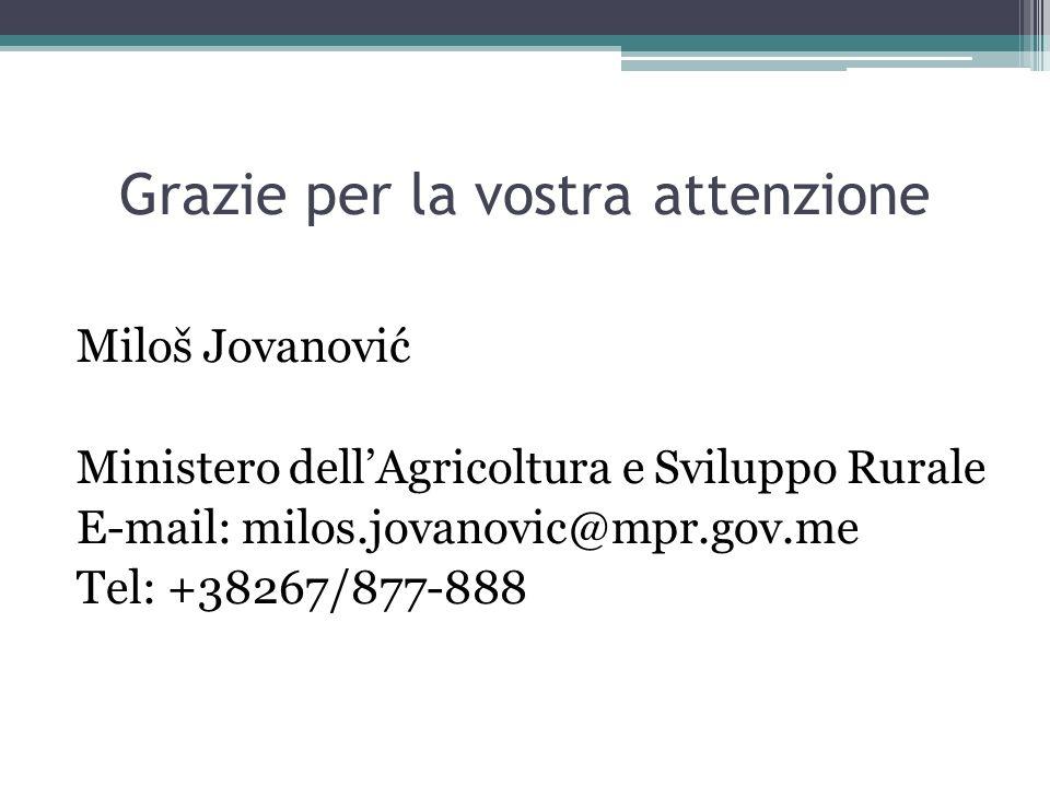 Grazie per la vostra attenzione Miloš Jovanović Ministero dellAgricoltura e Sviluppo Rurale E-mail: milos.jovanovic@mpr.gov.me Tel: +38267/877-888