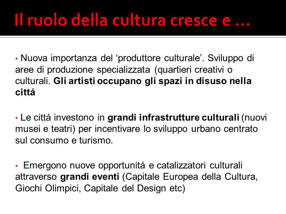 Nuova importanza del produttore culturale.