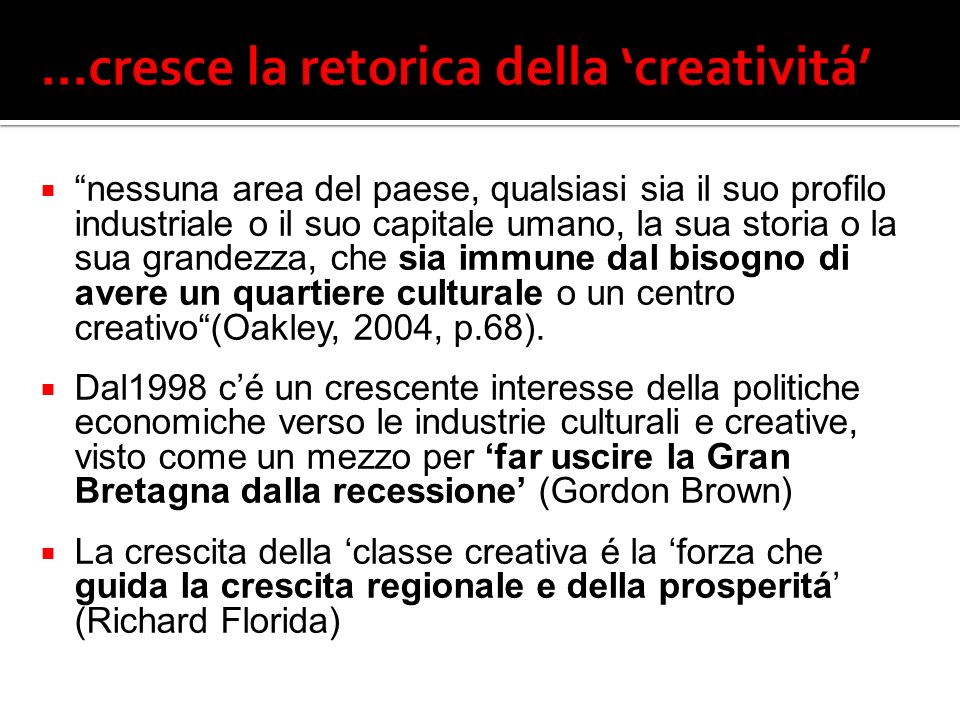 17 Creative individuals Creative firms Specialist business services Specialist manufacturing support Business support agencies Education and training Local authorities Associations Cultural and creative support agencies Retail Audience Projects and venues IIIII I IV Visione di rete e di sistema