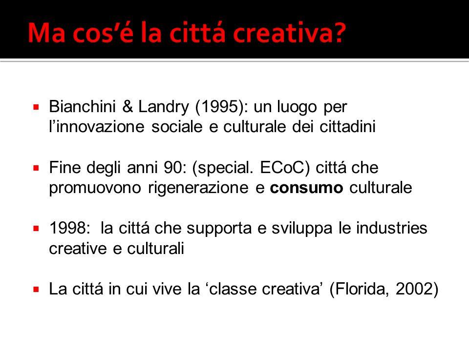 Bianchini & Landry (1995): un luogo per linnovazione sociale e culturale dei cittadini Fine degli anni 90: (special.