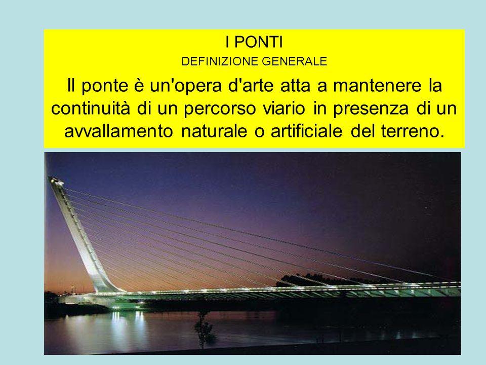 I PONTI DEFINIZIONE GENERALE Il ponte è un'opera d'arte atta a mantenere la continuità di un percorso viario in presenza di un avvallamento naturale o