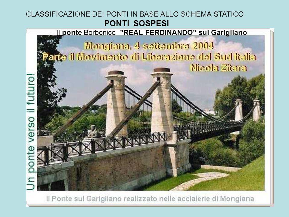 CLASSIFICAZIONE DEI PONTI IN BASE ALLO SCHEMA STATICO PONTI SOSPESI Fu il primo ponte sospeso realizzato in Italia, a catenaria di ferro, e secondo ponte in Europa (ma primo ponte sospeso nell Europa continentale), dato che il primato assoluto europeo spetta alla Gran Bretagna (1824).
