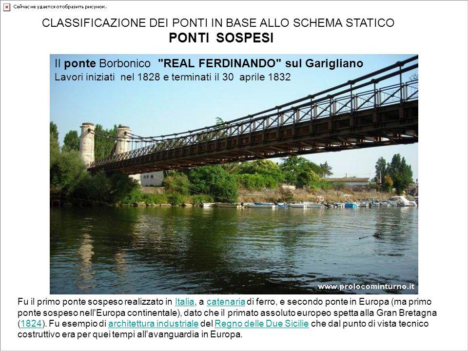 CLASSIFICAZIONE DEI PONTI IN BASE ALLO SCHEMA STATICO PONTI SOSPESI Fu il primo ponte sospeso realizzato in Italia, a catenaria di ferro, e secondo po