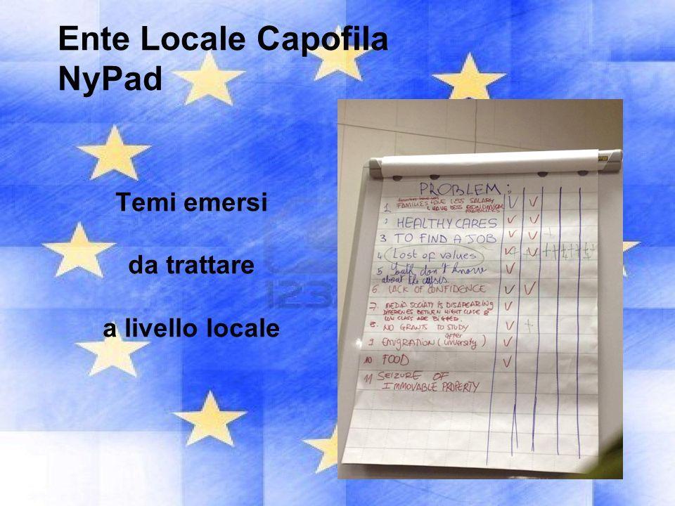 Ente Locale Capofila NyPad Temi emersi da trattare a livello locale