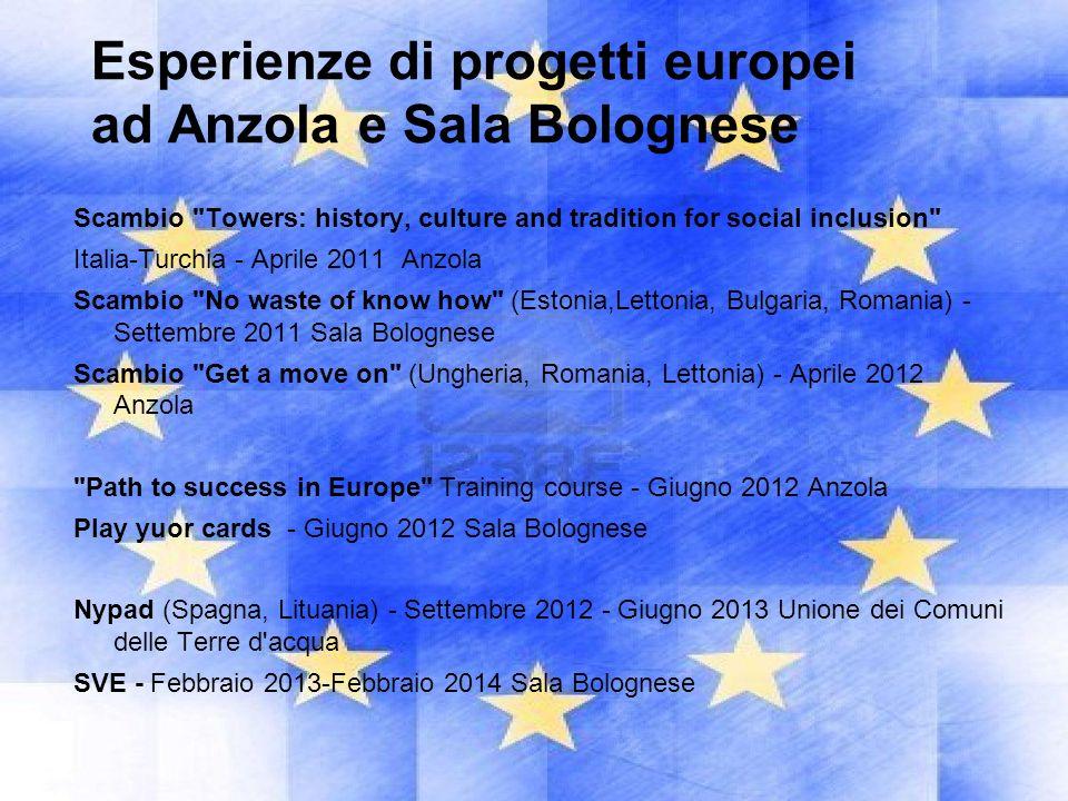 Esperienze di progetti europei ad Anzola e Sala Bolognese Scambio