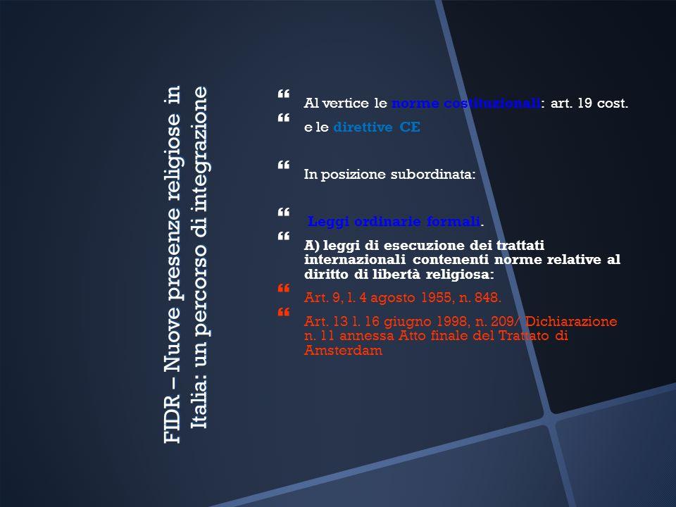 FIDR – Nuove presenze religiose in Italia: un percorso di integrazione Al vertice le norme costituzionali: art. 19 cost. e le direttive CE In posizion