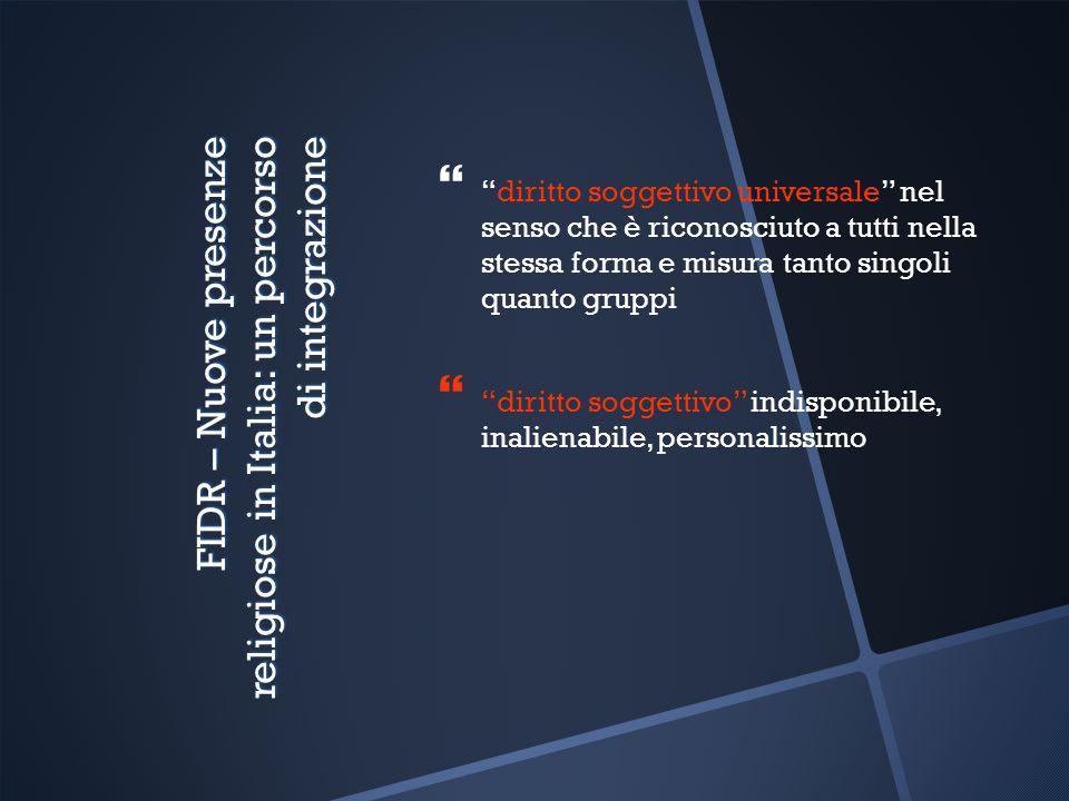 FIDR – Nuove presenze religiose in Italia: un percorso di integrazione diritto soggettivo universale nel senso che è riconosciuto a tutti nella stessa forma e misura tanto singoli quanto gruppi diritto soggettivo indisponibile, inalienabile, personalissimo