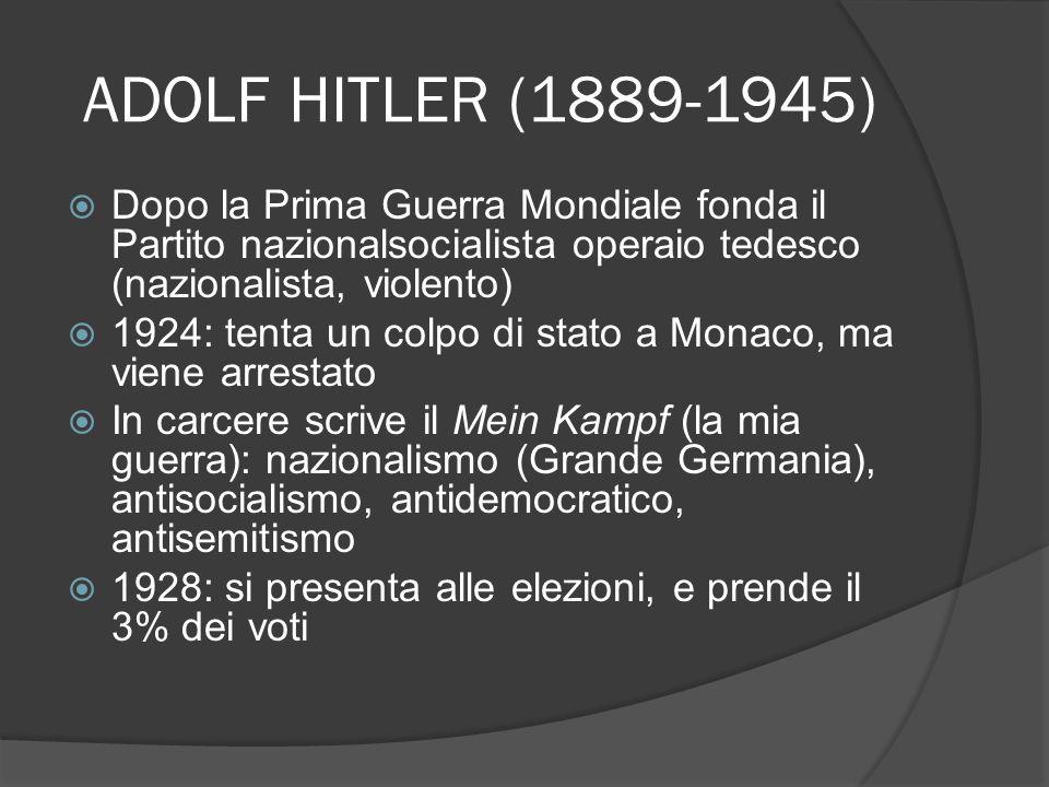 ADOLF HITLER (1889-1945) Dopo la Prima Guerra Mondiale fonda il Partito nazionalsocialista operaio tedesco (nazionalista, violento) 1924: tenta un col