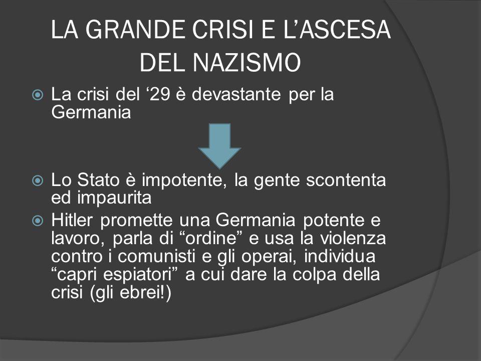 LA GRANDE CRISI E LASCESA DEL NAZISMO La crisi del 29 è devastante per la Germania Lo Stato è impotente, la gente scontenta ed impaurita Hitler promet